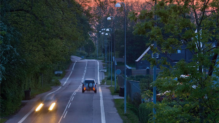 Street at Holbaek illuminated by Philips lighting