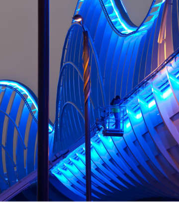 Meydan bridges, Dubai illuminated with Philips bridge lighting