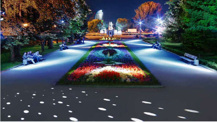 A park nicely lit by Philips lighting