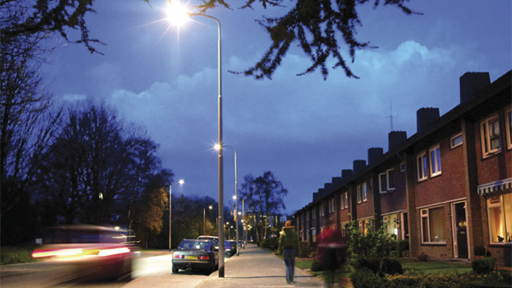 Residential area well-lit with Philips white light